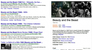 Snapshot of Google Search Results for Belle Et La Bete